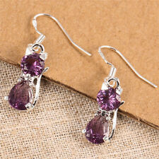 925 Silver Cute Cat Purple Amethyst Drop Dangle Earrings Women Fashion Jewelry