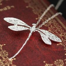 Women Jewelry Fashion 925 Silver Dragonfly Necklace Pendant 24 inches Chain