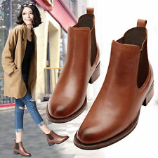 New Fashion Womens Brown Black Cow Leather Ankle Boots Winter Pull On Oxfords