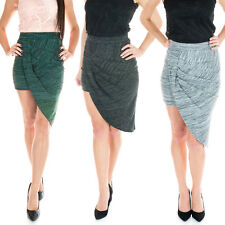 New Ladies Cotton Wrap Midi Pencil Skirt Asymmetric Grey Green Black Size 6-12