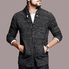 Warm Mens 100% Cotton Lapel Long Sleeves Solid Cardigan Casual Sweater M-XXXL