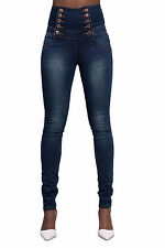 New Womens High Waisted Skinny Jeans Ladies Stretch Slim Fit Denim 6-14