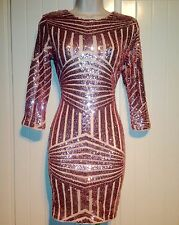 Blush Pink Sequin High Neck Long Sleeve Bodycon Dress Size 8 10 12 14 16