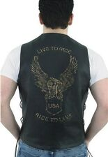Men's Retro Brown Leather Vest With USA Eagle Embossed