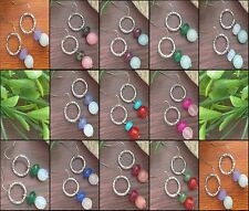 Cute Colored Earrings With Round Circle Hearts Charm , Drop Dangle Earrings