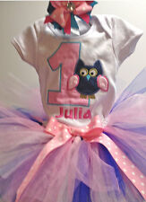 1st Birthday Owl Blue Pink Little Girls Onesie Tutu Outfit FREE Hair Bow