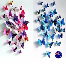 12PC Christmas Wedding Pink / Blue Butterfly Party Wall Sticker Home Decorations