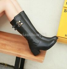 Winter Womens Riding Knee High Boots Pu Leather Round Toe Shoes Buckle Low Heels