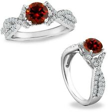 1.15 Carat Red Diamond Crossover Solitaire Halo Promise Ring Band 14K White Gold