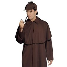 Mens Sherlock Holmes Detective Costume Police Crime Fighter Party Outfit & Hat