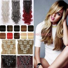 17-26 Inchs 170g Real Thick hair extensions 8 Piece Full head 18 Clips clip ins
