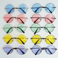 Vintage Round Sunglasses Hippy Sunnies Shades Color Lens Golden Frame Men Women