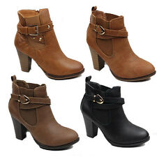NEW WOMENS LADIES CASUAL CHELSEA STYLE HIGH CUBAN HEEL ANKLE BOOTS SHOES SIZE 3-