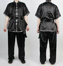 Wushu KungFu Black Uniform Taichi Kung Fu Chinese Silver Trim ChangQuan Uniforms