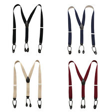 New Suspender Leather Solid Elastic Womens Button Holes Braces Mens Adjustable
