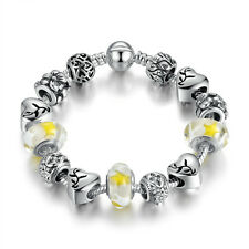 DIY European 2017 Silver Plated Yellow Murano Beads Charms Bracelet w all Charm