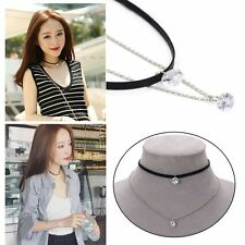 Gothic Leather Pendants Choker Double Layer Necklace