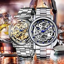 Blue Crystal Mechanical Skeleton Watches Stainless Steel Watch Brand Luxury