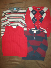 Boys 3T Sweaters Red Vest Black Striped Sweaters Holiday Sweaters YOU CHOOSE
