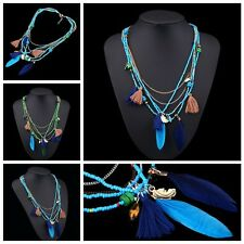 Long  Ethnic Stylish Tassel Feather Pendant Beads Chain Multilayer Necklace