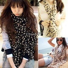 Women Fashion Cat Print Long Style Wrap Lady Shawl Chiffon Scarf Scarves EA77