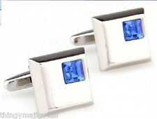 PAIR BLUE STONE SILVER SQUARE CUFFLINKS SHIRT CUFF LINKS WEDDING GIFT