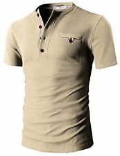 H2H Mens Casual Slim Fit Henley Short Sleeve Cool Shirts W/ Waffle Patterned