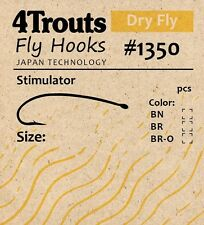 Dry Fly Hooks STIMULATOR, for tying Dry Fly 4Trouts #1350 100pcs/pack bend shank