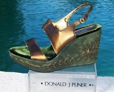 Donald Pliner $275 COUTURE METALLIC LEATHER WEDGE Shoe NIB SUEDE EMBROIDERY
