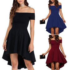 Women Lady Off-shoulder High Low Hem Ruched Sexy Party Formal Prom Skater Dress