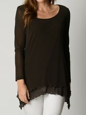 BNWT LADIES CLARITY THREADZ BROWN TUNIC TOP SIZE M L XL 12 14 16 18