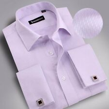 Simple Mens Long-sleeved Non-iron Cufflinks Solid Business Dress Shirt 9 Colors