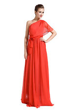 New One-shoulder Long formal Evening party prom Chiffon Women dresses 4 6 8 10