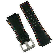 B & R Bands Black/Orange Horween Leather Bell & Ross Watch Strap Band BR01 BR03