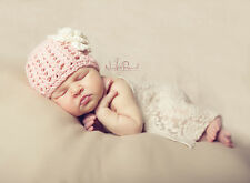 Hand Knitted Crochet Baby Hat Bamboo Flower & Pearl Photo Prop Girl Newborn -12M