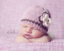 Hand Knitted Crochet Baby Girl Hat Flower & Pearl Photo Prop Prem/Newborn -12M
