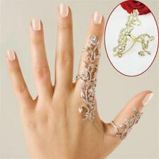 Fashion Crystal Flower Gold Silver Double Full Finger Knuckle Armor Ring