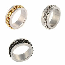Mens Black Silver Gold Curb Chain Center Stainless Steel Wedding Band Ring