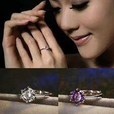 Engagement Charming Adjustable Ring Silver Plated Six Claw Zircon