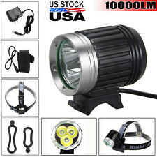 10000LM 3x CREE U2 LED HeadLight Bicycle Bike Front Lamp Light Headlamp US Stock