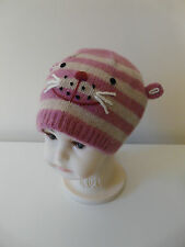 MONSOON BABY GIRL PINK STRIPED WOOL CAT WINTER BEANIE HAT SIZE 0-12 MONTHS