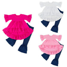 2PCS Baby Infant Girls Boutique Outfit Ruffle Trimmed Tops Dress + Pants Clothes