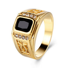 Mens Wedding Bands Class Black Onyx CZ Yellow Gold Plated Ring Size 9 10 11
