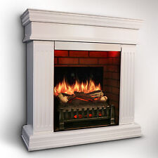MagikFlame Realistic Electric Fireplace [WHITE] w/ Sound Insert/Mantel + Heater