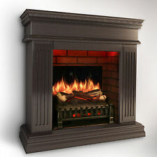 MagikFlame Realistic Electric Fireplace [WALNUT] w/ Sound Insert/Mantel + Heater