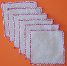 Hemp Organic Cotton Fleece Baby Wipes 5.5 x 5.5 square Fuchsia Trim
