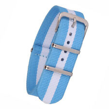 12mm 14mm 16mm 18mm 20mm 22mm 24mm White Blue Nylon Watch Strap Band Watchband