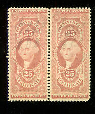US R44 Pair Revenue 1862-1871 First Issue Certificate 25c -No Defects