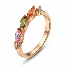 Creative Fashion Rose Gold Plated Zircon Ring Women Costume Jewellery Party Gift