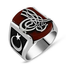 Men's Sterling Silver Ottoman Tughra with Crescent Moon Square Agate Ring